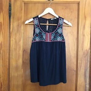 Embroidered Navy Tank Top